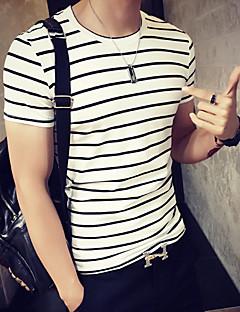 Men's Striped Casual / Sport T-Shirt,Cotton Short Sleeve-White