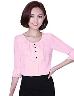 Blusa Da donna Casual Romantico / Moda città Estate,Tinta unita Rotonda Poliestere Blu / Rosa / Bianco Mezze maniche Medio spessore