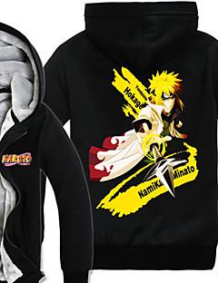 Inspireret af Naruto Naruto Uzumaki Anime Cosplay Kostumer Cosplay Hættetrøjer Trykt mønster Langærmet Top Til Mand
