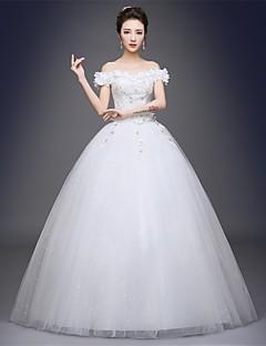 De Baile Vestido de Noiva Longo Ombro a Ombro Cetim / Tule com Com Apliques