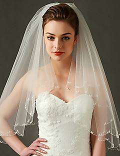 Wedding Veil Two-tier Elbow Veils Beaded Edge / Scalloped Edge