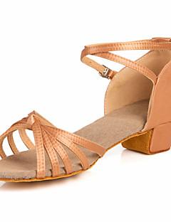 Non Customizable Women's/Kids' Dance Shoes Latin/Ballroom Satin Chunky Heel Brown