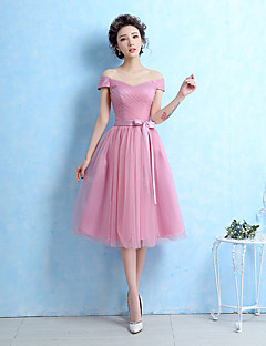 Bridesmaid Dress Tea-length Tulle - Ball Gown Off-the-shoulder with Sash / Ribbon / Side Draping