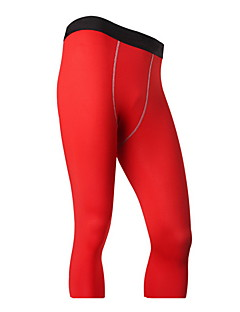 Running 3/4 Tights Men's Breathable / Quick Dry Running Sports White / Green / Red / Gray / Black / Blue Solid
