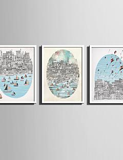 Peisaj / Desene Animate Pânză Înrămată / Set Înrămat Wall Art,PVC Alb Fără Rogojină cu Frame Wall Art