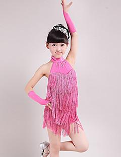 Latinské tance Šaty Dětské Výkon elastan / Polyester Střapce 3 kusy Bez rukávů Vysoký Rukavice / Šaty