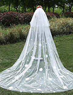 Wedding Veil Two-tier Cathedral Veils Cut Edge Tulle Ivory Ivory