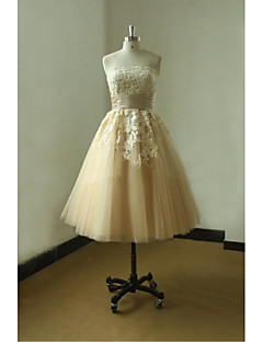 A-line Wedding Dress Knee-length Strapless Tulle with Appliques