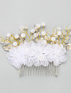 Women's / Flower Girl's Alloy / Imitation Pearl / Chiffon Headpiece-Wedding / Special Occasion Hair Combs 1 Piece