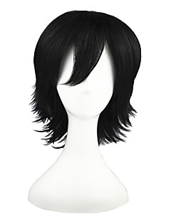Cosplay Wigs The Prince of Tennis Amu Hinamori Black Short Anime Cosplay Wigs 35 CM Heat Resistant Fiber Male / Female