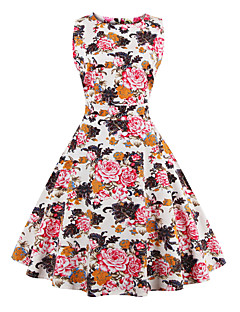 Women's Plus Size Vintage Swing Dress,Floral Round Neck Knee-length Sleeveless Red / White / Black / Multi-color Cotton Summer