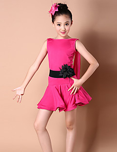 Latin Dance Dresses Children's Fashion Performance Spandex / Polyester Pleated Dance Costumes