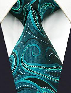 Men's100% Silk  Tie Green Paisley Fashion