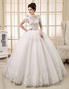 Hercegnő Menyasszonyi ruha Földig érő Ékszer Tüll val vel Gyöngydíszítés