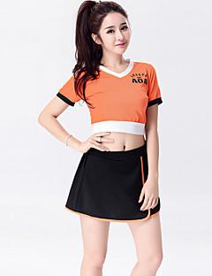 תלבושות למעודדות תלבושות בגדי ריקוד נשים ביצועים כותנה / פוליאסטר קפלים 2 חלקים שרוול קצר גבוה חצאית / עליון S:64cm,M:68cm,L:72cm,XL:76cm