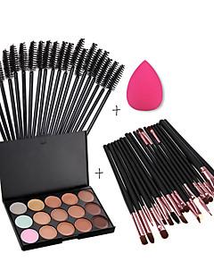15 farger kontur ansiktskrem makeup concealer palette + svamp puff Powder Brush + 20pcs børster + 50stk øyevipper børste