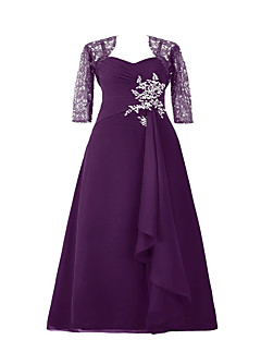 A-line Mother of the Bride Dress Floor-length Chiffon / Lace / Charmeuse with Appliques / Beading / Lace / Sequins