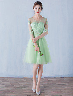 Cocktail Party Dress A-line V-neck Knee-length Tulle