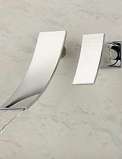 Contemporain Moderne Montage mural Cascade with  Valve en céramique Mitigeur deux trous for  Chrome , Robinet lavabo