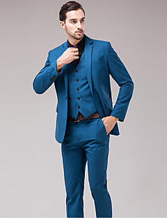 Men's Long Sleeve Regular Blazer+Pant+Vest Set,Cotton / Acrylic / Polyester Solid 916216