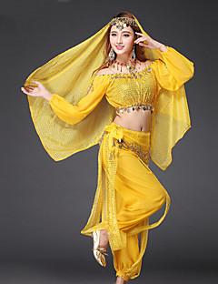 ריקוד בטן תלבושות בגדי ריקוד נשים ביצועים שיפון מטבעות זהב / נצנצים 4 חלקים שרוול ארוך נפול מכנסיים / עליון / רעלה / חגורה 90
