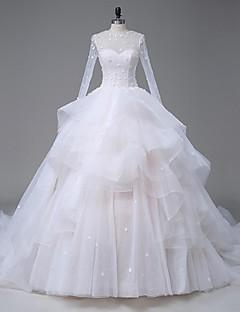 Lanting Bride® A-라인 웨딩 드레스 성당 트레인 쥬얼리 오간자 / 새틴 / 튤 와 아플리케 / 비즈 / 크리스탈 / 레이스