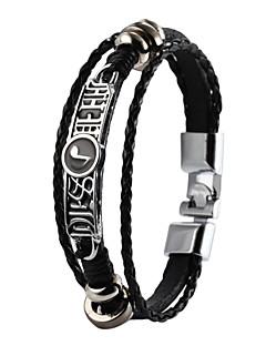 High Quality Super Shining Zinc Alloy Latin Word Spell Music Note Men's Multi-layer PU Bracelet