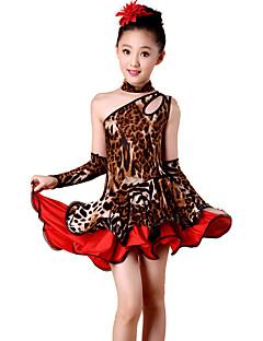 Gyermek-Latin tánc-Ruhák(Leopard nyomat,Spandex / Poliészter,Leopárd)