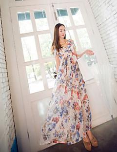 Bayanlar Kumsal Boho Çan Elbise Çiçekli,Kolsuz V Yaka Maksi Mavi / Yeşil / Mor Polyester Yaz