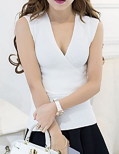 Women's Going out Street chic Regular Vest,Solid Blue / Pink / White / Black / Gray / Green Deep V Sleeveless Cotton Summer Medium