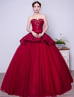 Formal Evening Dress Ball Gown Strapless Floor-length Lace / Satin / Tulle / Stretch Satin with Beading / Bow(s) / Crystal Detailing