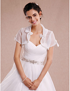 Women's Wrap Shrugs Short Sleeve Tulle Ivory Wedding / Party/Evening / Casual Bow Open Front