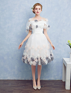 Ball Gown Off-the-shoulder Tea Length Satin Tulle Cocktail Party Prom Dress with Bow(s) Flower(s)