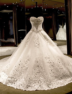 Princess Wedding Dress Chapel Train Strapless Tulle with Beading