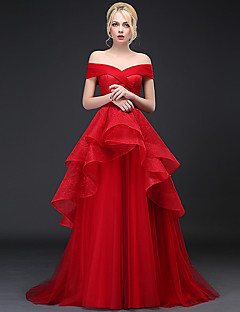 Formal Evening Dress A-line Off-the-shoulder Sweep / Brush Train Lace / Tulle with Lace