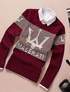 Men's Letter Pullover,Cotton Long Sleeve