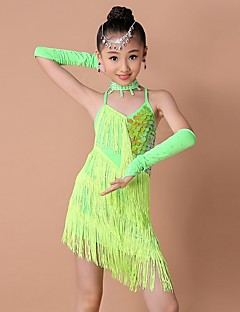 Gyermek-Latin tánc-Ruhák(Fukszia / Zöld / Piros,Spandex / Poliészter,Flitterek / Bojt(ok))
