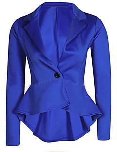Mulheres Blazer Trabalho Outono,Sólido Azul / Rosa / Vermelho / Bege / Preto Poliéster Decote V / Lapela Chanfrada Manga Longa Média