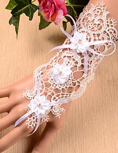 Até o Pulso Sem Dedos Luva Renda Luvas de Noiva Luvas de Festa Primavera Verão Floral Bordados