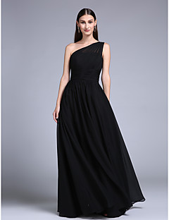 Dress - Mini Me Sheath / Column One Shoulder Floor-length Chiffon with Beading / Sash / Ribbon / Side Draping