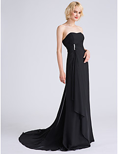 Lanting Bride® Sweep / Brush Train Chiffon Lace-up Bridesmaid Dress - A-line Strapless Plus Size / Petite withBeading / Side Draping /