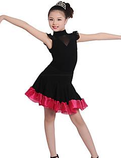 Children's Training Cotton / Crepe / Linen Ruched 1 Piece Black Ballet Short Sleeve Natural Dress