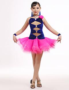 ריקוד לטיני שמלות בגדי ריקוד ילדים ביצועים טול / קטיפה קריסטלים / rhinestones / פרח (ים) 4 חלקים בלי שרוולים טבעי שמלות / Neckwear / צמיד