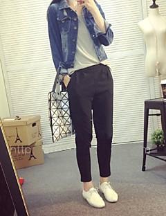 Women's Casual/Daily Street chic Spring Denim Jackets,Solid Shirt Collar Long Sleeve Silver Cotton / Lambskin Medium