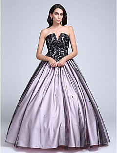 2017 Prom Dress Ball Gown Strapless Floor-length Lace / Tulle with Beading / Lace