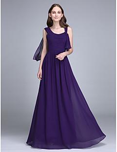 2017 Lanting Bride® Floor-length Chiffon Bridesmaid Dress - Sheath / Column Straps with Ruching