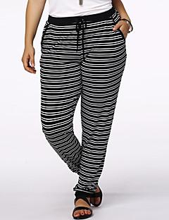 Women's Striped Blue / Black Active Pants,Plus Size / Active