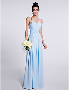 Lanting Bride Floor-length Chiffon Bridesmaid Dress Sheath / Column Spaghetti Straps with Criss Cross