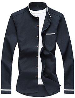 Men's Plus Size 7XL Solid Business Slim Fit Casual Long Sleeve Shirt, Cotton / Casual / Plus Sizes