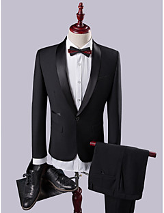 Suits Slim Fit Shawl Collar Single Breasted One-button Solid 2 Pieces Black Straight Flapped